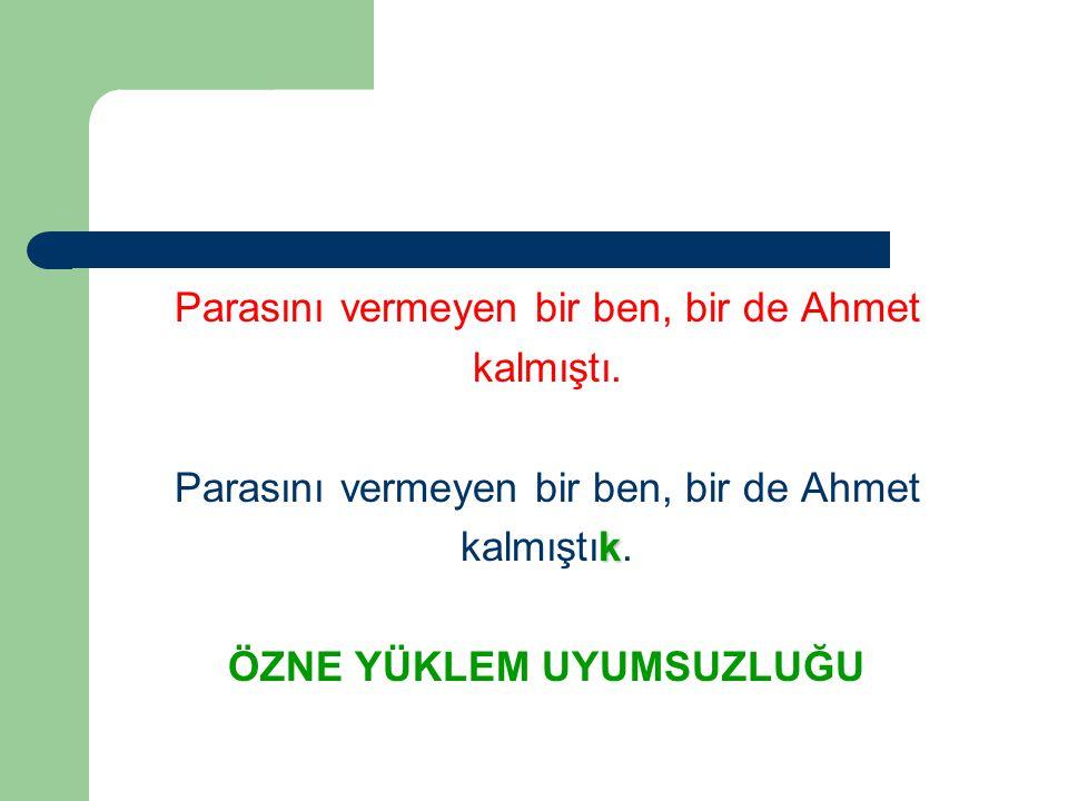 Parasını vermeyen bir ben, bir de Ahmet kalmıştı.