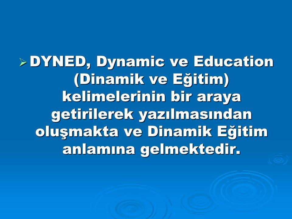  DYNED, Dynamic ve Education (Dinamik ve Eğitim) kelimelerinin bir araya getirilerek yazılmasından oluşmakta ve Dinamik Eğitim anlamına gelmektedir.