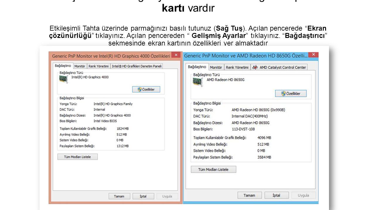 Etkileşimli Tahta Bilgisayarında 512MB belleğe sahip ekran kartı vardır Etkileşimli Tahta üzerinde parmağınızı basılı tutunuz (Sağ Tuş).