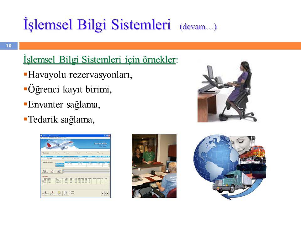 İşlemsel Bilgi Sistemleri (devam…) İşlemsel Bilgi Sistemleri için örnekler:  Havayolu rezervasyonları,  Öğrenci kayıt birimi,  Envanter sağlama, 
