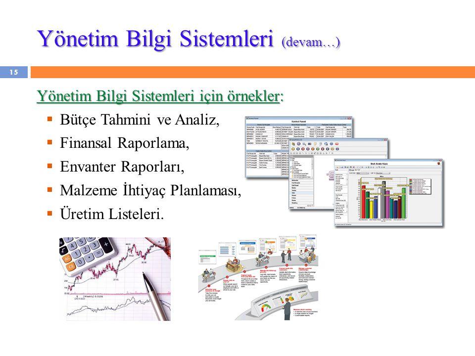 Yönetim Bilgi Sistemleri (devam…) Yönetim Bilgi Sistemleri için örnekler:  Bütçe Tahmini ve Analiz,  Finansal Raporlama,  Envanter Raporları,  Mal
