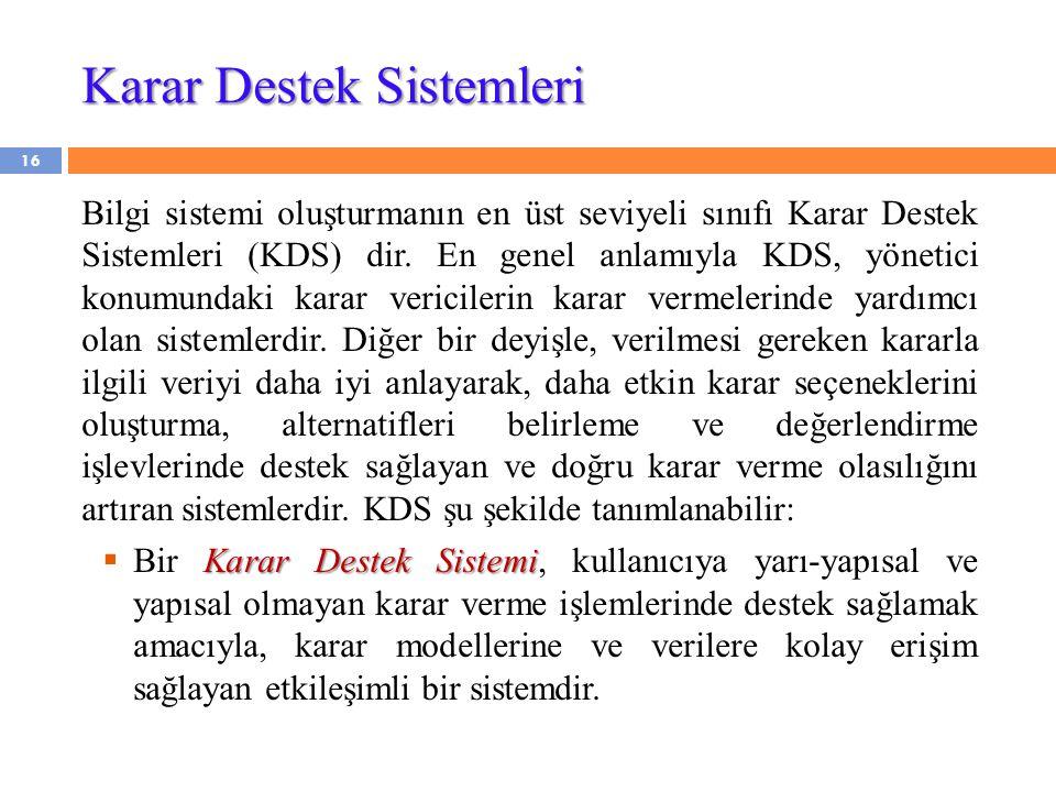 Karar Destek Sistemleri Bilgi sistemi oluşturmanın en üst seviyeli sınıfı Karar Destek Sistemleri (KDS) dir. En genel anlamıyla KDS, yönetici konumund