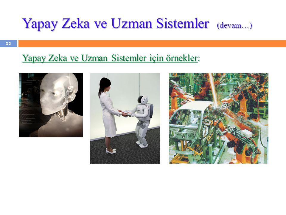 Yapay Zeka ve Uzman Sistemler (devam…) Yapay Zeka ve Uzman Sistemler için örnekler: 32