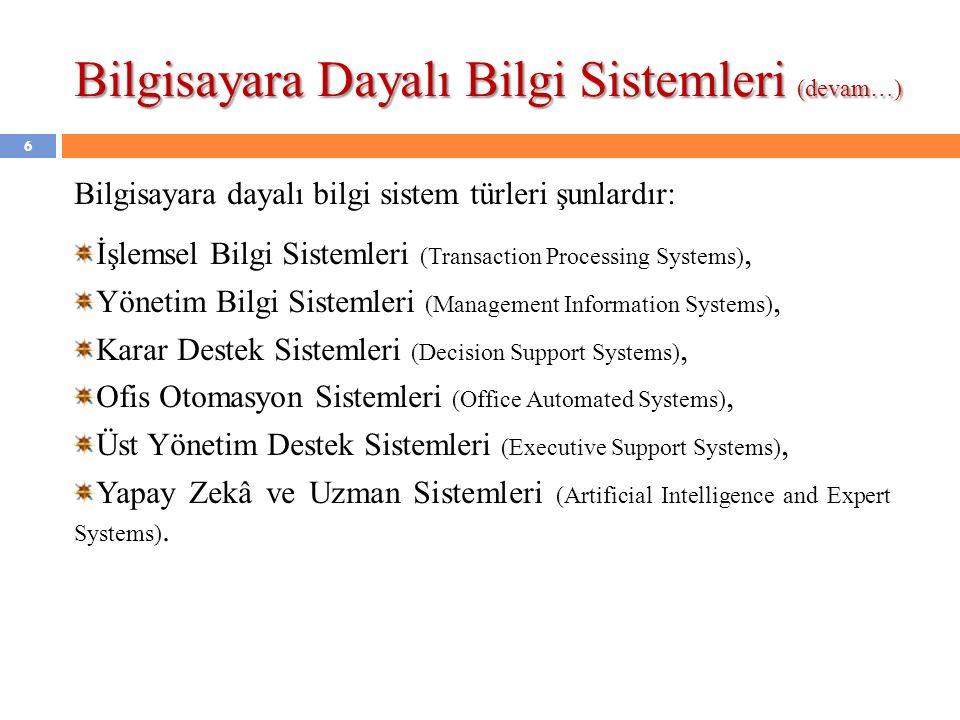 Bilgisayara Dayalı Bilgi Sistemleri (devam…) Bilgisayara dayalı bilgi sistem türleri şunlardır: İşlemsel Bilgi Sistemleri (Transaction Processing Systems), Yönetim Bilgi Sistemleri (Management Information Systems), Karar Destek Sistemleri (Decision Support Systems), Ofis Otomasyon Sistemleri (Office Automated Systems), Üst Yönetim Destek Sistemleri (Executive Support Systems), Yapay Zekâ ve Uzman Sistemleri (Artificial Intelligence and Expert Systems).