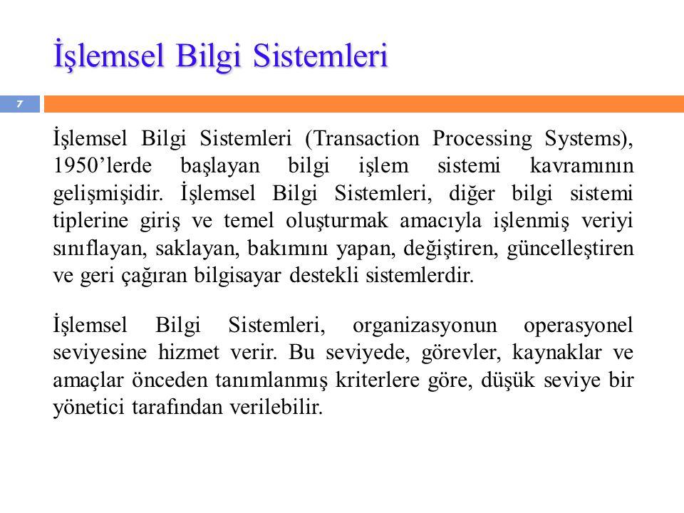 İşlemsel Bilgi Sistemleri İşlemsel Bilgi Sistemleri (Transaction Processing Systems), 1950'lerde başlayan bilgi işlem sistemi kavramının gelişmişidir.