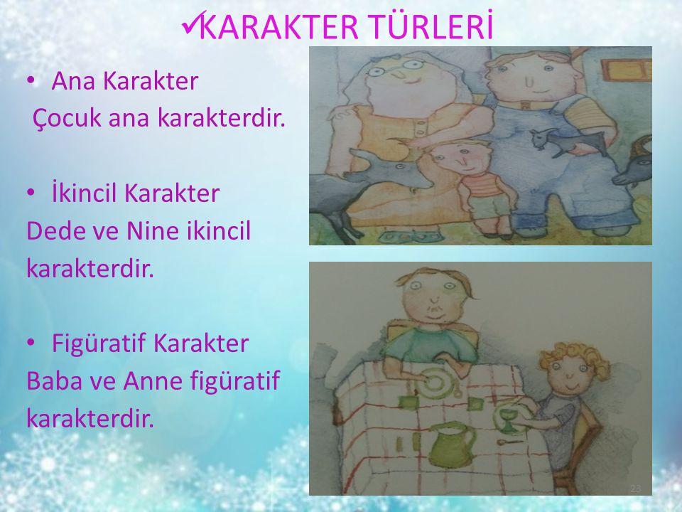 KARAKTER TÜRLERİ Ana Karakter Çocuk ana karakterdir. İkincil Karakter Dede ve Nine ikincil karakterdir. Figüratif Karakter Baba ve Anne figüratif kara