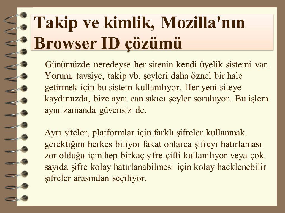 Takip ve kimlik, Mozilla'nın Browser ID çözümü Günümüzde neredeyse her sitenin kendi üyelik sistemi var. Yorum, tavsiye, takip vb. şeyleri daha öznel