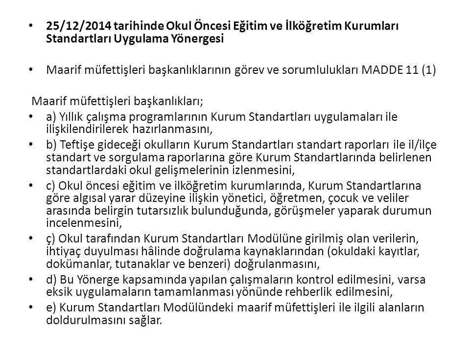 25/12/2014 tarihinde Okul Öncesi Eğitim ve İlköğretim Kurumları Standartları Uygulama Yönergesi Maarif müfettişleri başkanlıklarının görev ve sorumlul