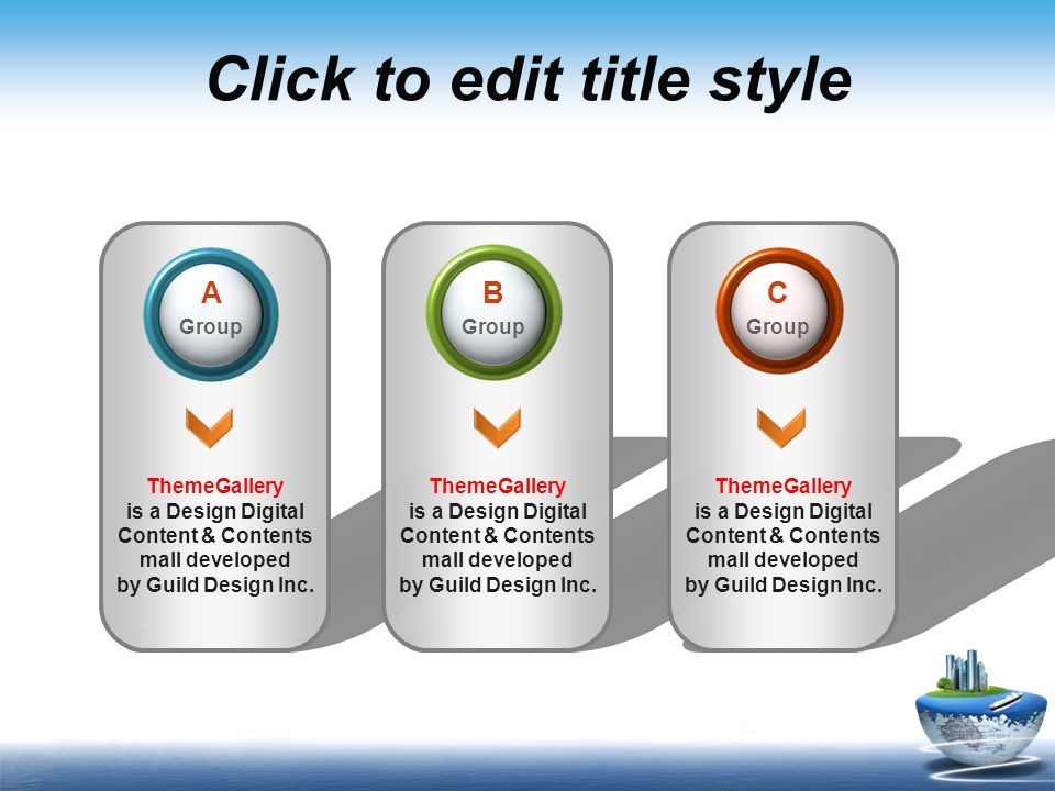 Click to edit title style Level 1 Level 2 Level 3 Level 4 Level 5 Description of the contents  ThemeGallery is a Design Digital Content & Contents mall developed by Guild Design Inc.