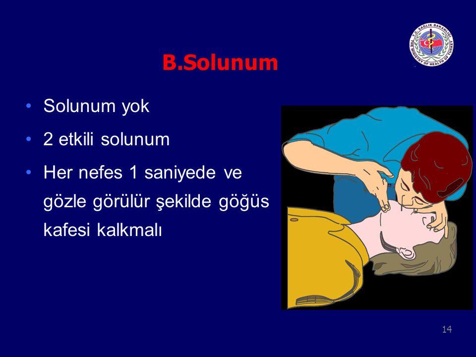 14 B.Solunum Solunum yok 2 etkili solunum Her nefes 1 saniyede ve gözle görülür şekilde göğüs kafesi kalkmalı