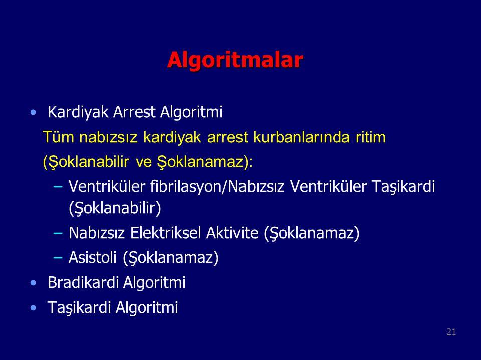 21 Algoritmalar Kardiyak Arrest Algoritmi Tüm nabızsız kardiyak arrest kurbanlarında ritim (Şoklanabilir ve Şoklanamaz): –Ventriküler fibrilasyon/Nabı