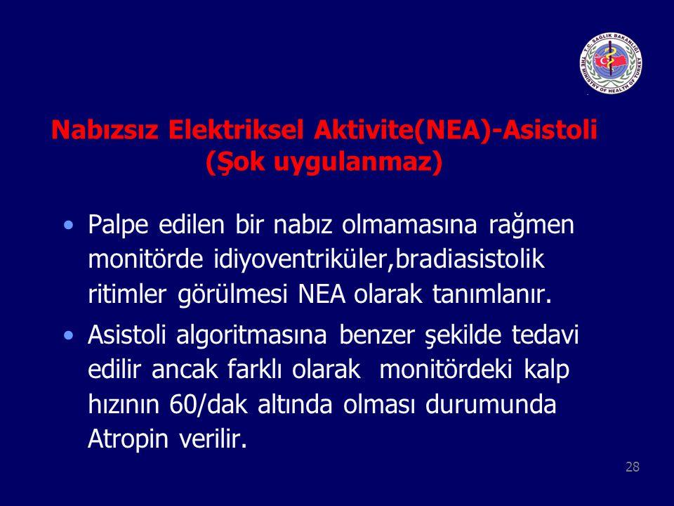 28 Nabızsız Elektriksel Aktivite(NEA)-Asistoli (Şok uygulanmaz) Palpe edilen bir nabız olmamasına rağmen monitörde idiyoventriküler,bradiasistolik rit