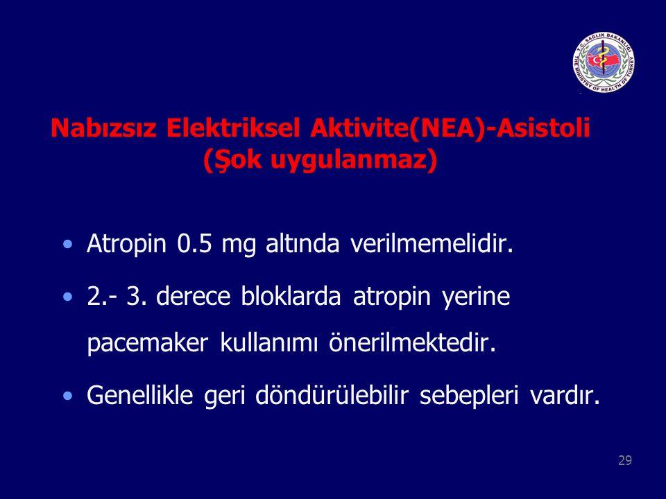 29 Nabızsız Elektriksel Aktivite(NEA)-Asistoli (Şok uygulanmaz) Atropin 0.5 mg altında verilmemelidir. 2.- 3. derece bloklarda atropin yerine pacemake