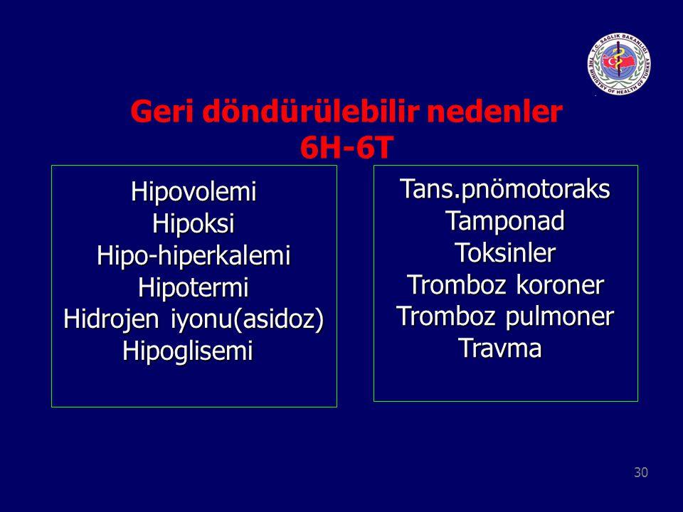 30 Geri döndürülebilir nedenler 6H-6T HipovolemiHipoksiHipo-hiperkalemiHipotermi Hidrojen iyonu(asidoz) HipoglisemiTans.pnömotoraksTamponadToksinler T