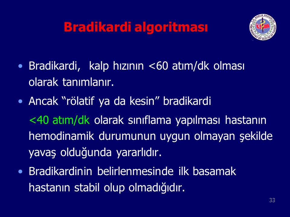 """33 Bradikardi algoritması Bradikardi, kalp hızının <60 atım/dk olması olarak tanımlanır. Ancak """"rölatif ya da kesin"""" bradikardi <40 atım/dk olarak sın"""