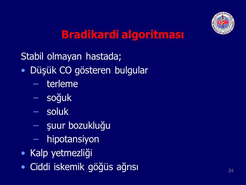 34 Bradikardi algoritması Stabil olmayan hastada; Düşük CO gösteren bulgular – terleme – soğuk – soluk – şuur bozukluğu – hipotansiyon Kalp yetmezliği