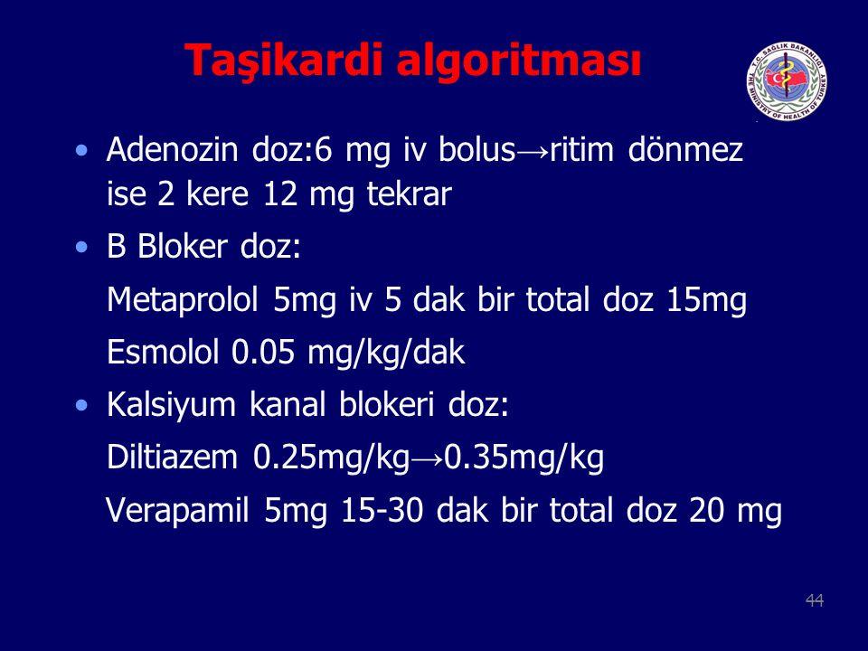 44 Taşikardi algoritması Adenozin doz:6 mg iv bolus → ritim dönmez ise 2 kere 12 mg tekrar B Bloker doz: Metaprolol 5mg iv 5 dak bir total doz 15mg Es