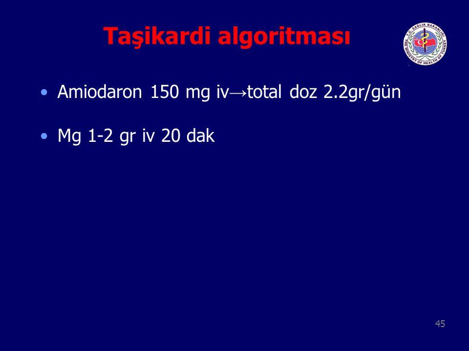 45 Taşikardi algoritması Amiodaron 150 mg iv → total doz 2.2gr/gün Mg 1-2 gr iv 20 dak