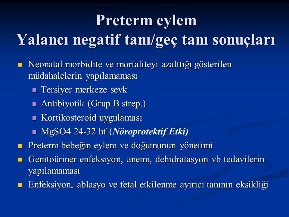 Preterm eylem Yalancı negatif tanı/geç tanı sonuçları Neonatal morbidite ve mortaliteyi azalttığı gösterilen müdahalelerin yapılamaması Neonatal morbidite ve mortaliteyi azalttığı gösterilen müdahalelerin yapılamaması Tersiyer merkeze sevk Tersiyer merkeze sevk Antibiyotik (Grup B strep.) Antibiyotik (Grup B strep.) Kortikosteroid uygulaması Kortikosteroid uygulaması MgSO4 24-32 hf ( MgSO4 24-32 hf (Nöroprotektif Etki) Preterm bebeğin eylem ve doğumunun yönetimi Preterm bebeğin eylem ve doğumunun yönetimi Genitoüriner enfeksiyon, anemi, dehidratasyon vb tedavilerin yapılamaması Genitoüriner enfeksiyon, anemi, dehidratasyon vb tedavilerin yapılamaması Enfeksiyon, ablasyo ve fetal etkilenme ayırıcı tanının eksikliği Enfeksiyon, ablasyo ve fetal etkilenme ayırıcı tanının eksikliği