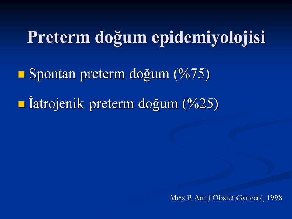 Preterm doğum epidemiyolojisi Spontan preterm doğum (%75) Spontan preterm doğum (%75) İatrojenik preterm doğum (%25) İatrojenik preterm doğum (%25) Me