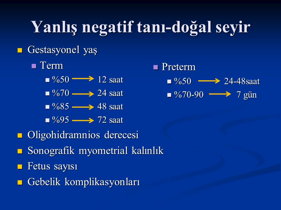 Yanlış negatif tanı-doğal seyir Gestasyonel yaş Term %50 12 saat %70 24 saat %85 48 saat %95 72 saat Oligohidramnios derecesi Sonografik myometrial ka