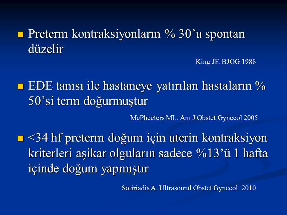 Preterm kontraksiyonların % 30'u spontan düzelir Preterm kontraksiyonların % 30'u spontan düzelir EDE tanısı ile hastaneye yatırılan hastaların % 50's