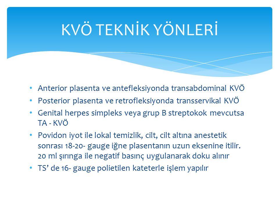 Anterior plasenta ve antefleksiyonda transabdominal KVÖ Posterior plasenta ve retrofleksiyonda transservikal KVÖ Genital herpes simpleks veya grup B s