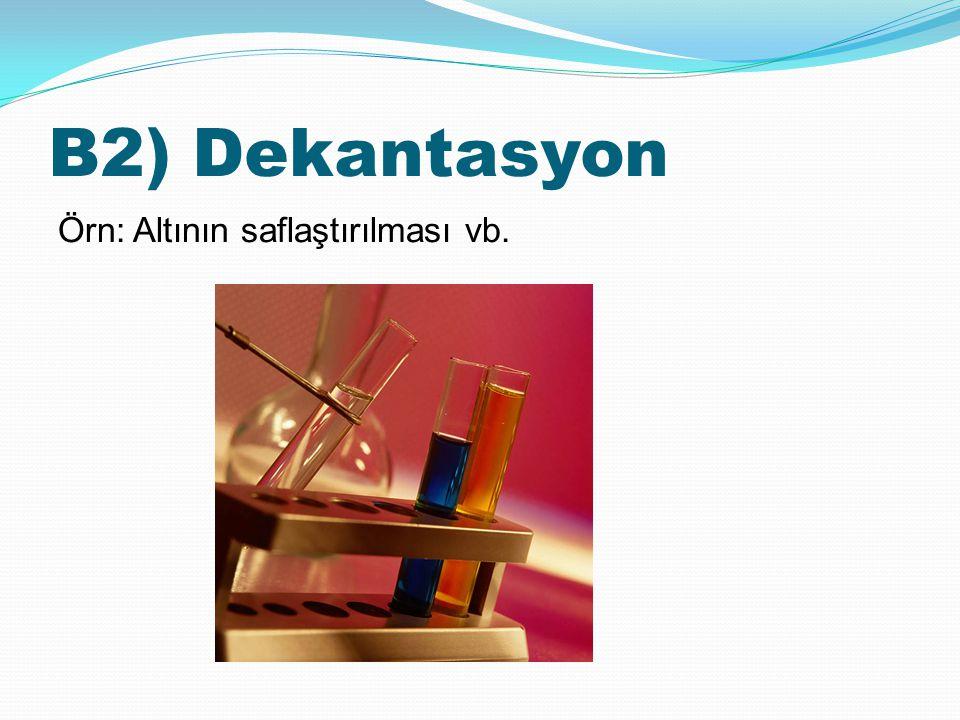 B2) Dekantasyon Örn: Altının saflaştırılması vb.