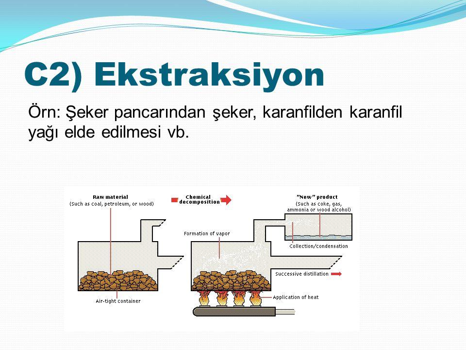 C2) Ekstraksiyon Örn: Şeker pancarından şeker, karanfilden karanfil yağı elde edilmesi vb.