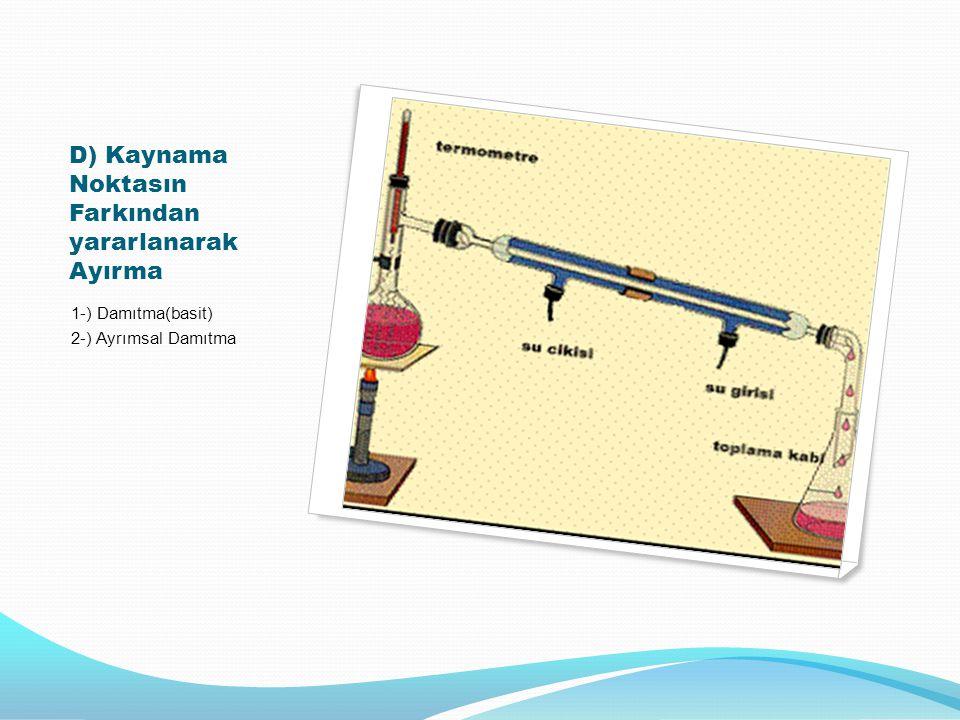 D) Kaynama Noktasın Farkından yararlanarak Ayırma 1-) Damıtma(basit) 2-) Ayrımsal Damıtma