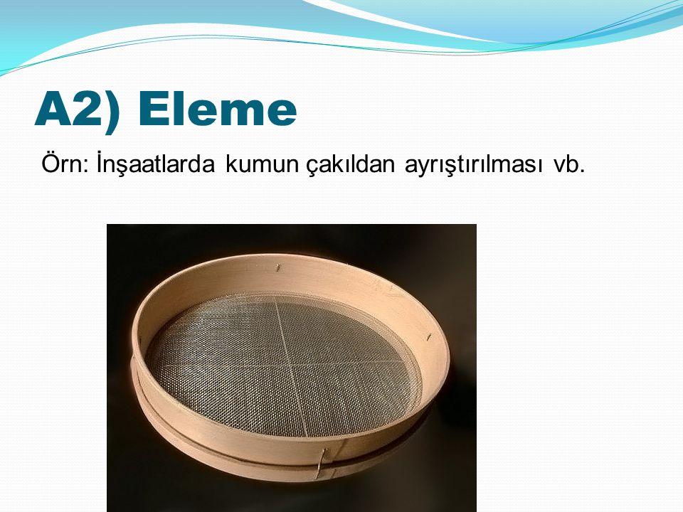 A2) Eleme Örn: İnşaatlarda kumun çakıldan ayrıştırılması vb.