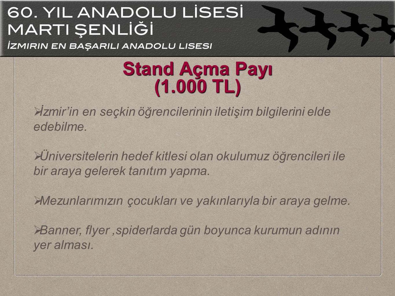 Stand Açma Payı (1.000 TL)  İzmir'in en seçkin öğrencilerinin iletişim bilgilerini elde edebilme.  Üniversitelerin hedef kitlesi olan okulumuz öğren