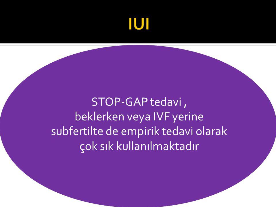 STOP-GAP tedavi, beklerken veya IVF yerine subfertilte de empirik tedavi olarak çok sık kullanılmaktadır