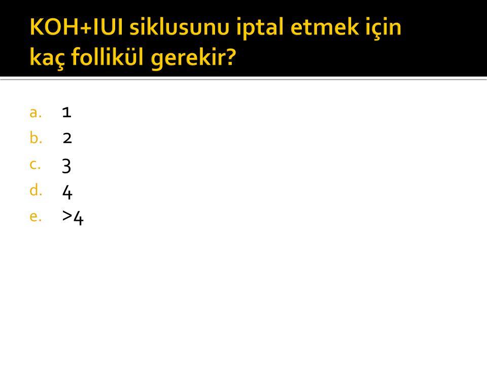 KOH+IUI siklusunu iptal etmek için kaç follikül gerekir? a. 1 b. 2 c. 3 d. 4 e. >4