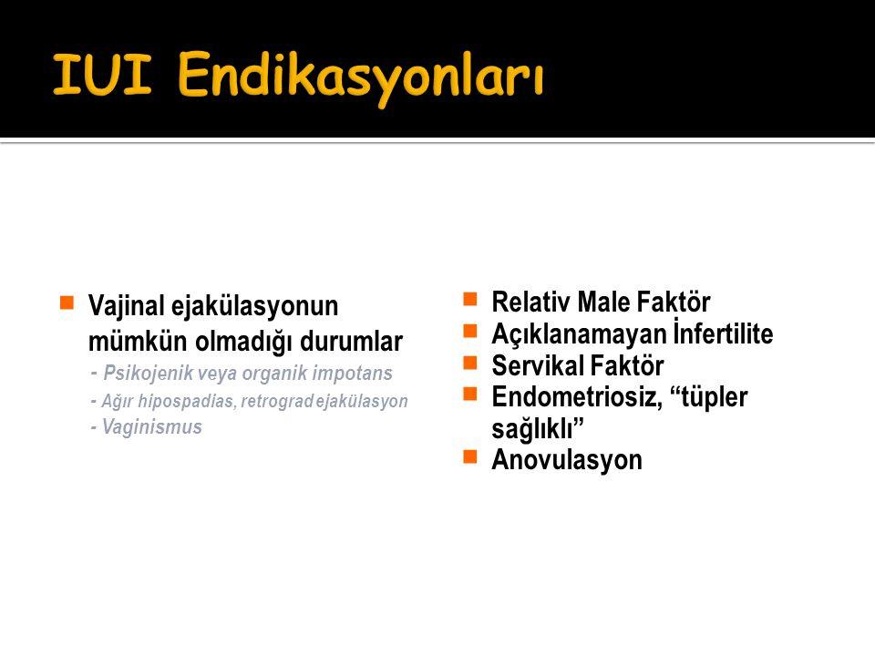  Vajinal ejakülasyonun mümkün olmadığı durumlar - Psikojenik veya organik impotans - Ağır hipospadias, retrograd ejakülasyon - Vaginismus  Relativ M