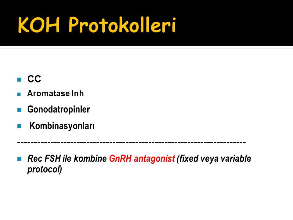 CC Aromatase Inh Gonodatropinler Kombinasyonları ---------------------------------------------------------------------- Rec FSH ile kombine GnRH antag
