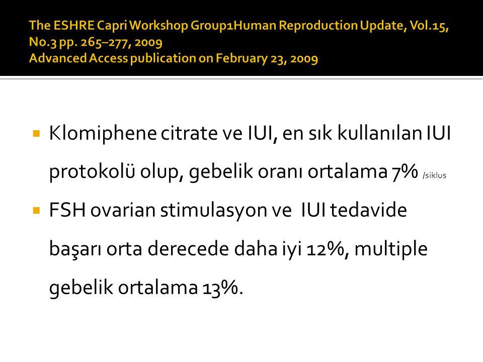  Klomiphene citrate ve IUI, en sık kullanılan IUI protokolü olup, gebelik oranı ortalama 7% /siklus  FSH ovarian stimulasyon ve IUI tedavide başarı