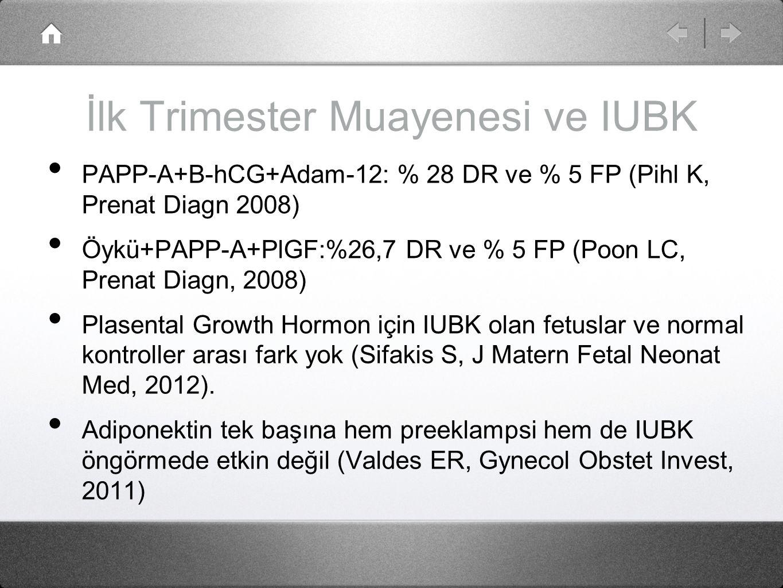 İlk Trimester Muayenesi ve IUBK PAPP-A+B-hCG+Adam-12: % 28 DR ve % 5 FP (Pihl K, Prenat Diagn 2008) Öykü+PAPP-A+PlGF:%26,7 DR ve % 5 FP (Poon LC, Pren