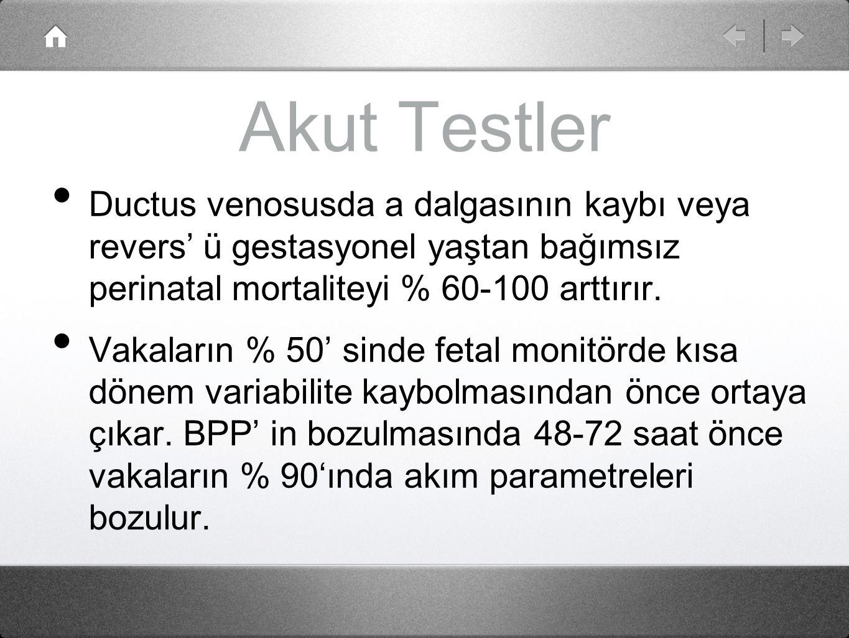 Akut Testler Ductus venosusda a dalgasının kaybı veya revers' ü gestasyonel yaştan bağımsız perinatal mortaliteyi % 60-100 arttırır. Vakaların % 50' s