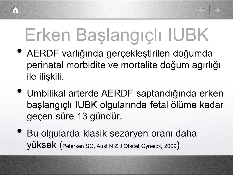 Erken Başlangıçlı IUBK AERDF varlığında gerçekleştirilen doğumda perinatal morbidite ve mortalite doğum ağırlığı ile ilişkili. Umbilikal arterde AERDF