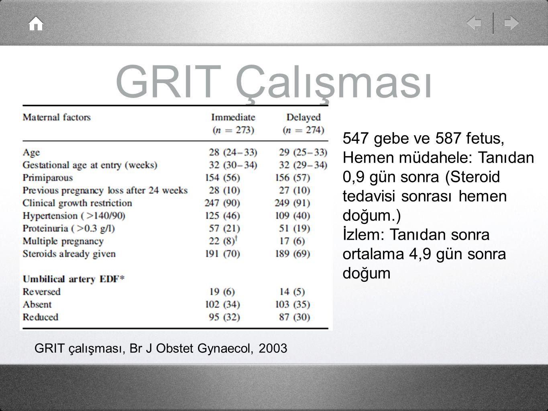 GRIT Çalışması 547 gebe ve 587 fetus, Hemen müdahele: Tanıdan 0,9 gün sonra (Steroid tedavisi sonrası hemen doğum.) İzlem: Tanıdan sonra ortalama 4,9