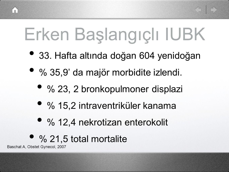 Erken Başlangıçlı IUBK 33. Hafta altında doğan 604 yenidoğan % 35,9' da majör morbidite izlendi. % 23, 2 bronkopulmoner displazi % 15,2 intraventrikül