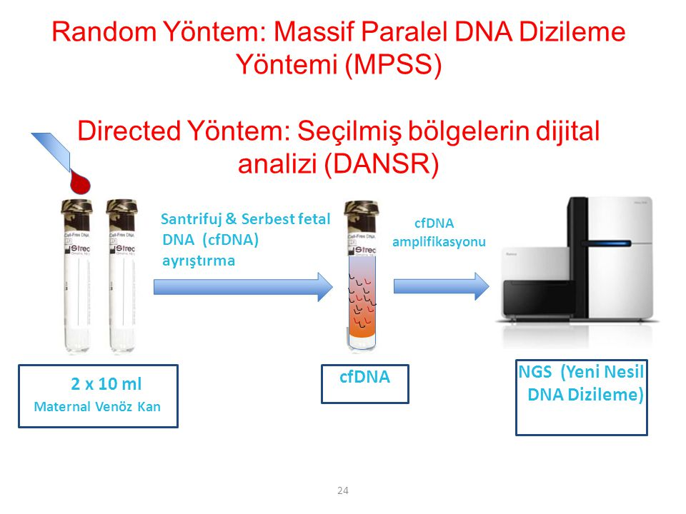 24 Santrifuj & Serbest fetal DNA (cfDNA) ayrıştırma 2 x 10 ml Maternal Venöz Kan cfDNA amplifikasyonu cfDNA NGS (Yeni Nesil DNA Dizileme) Random Yönte