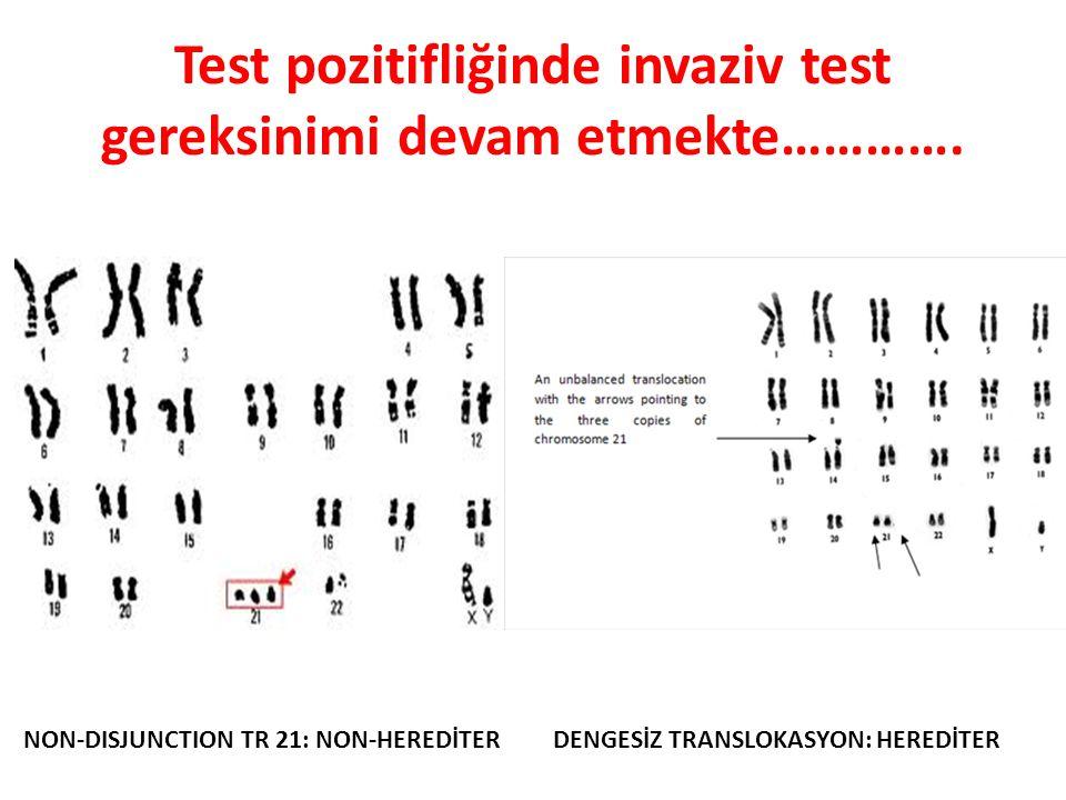 Test pozitifliğinde invaziv test gereksinimi devam etmekte…………. NON-DISJUNCTION TR 21: NON-HEREDİTERDENGESİZ TRANSLOKASYON: HEREDİTER