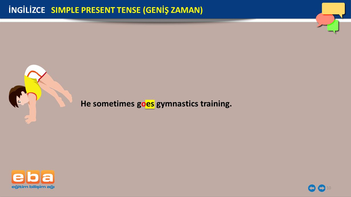 10 He sometimes goes gymnastics training. İNGİLİZCE SIMPLE PRESENT TENSE (GENİŞ ZAMAN)
