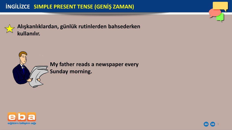 3 My father reads a newspaper every Sunday morning. İNGİLİZCE SIMPLE PRESENT TENSE (GENİŞ ZAMAN) Alışkanlıklardan, günlük rutinlerden bahsederken kull