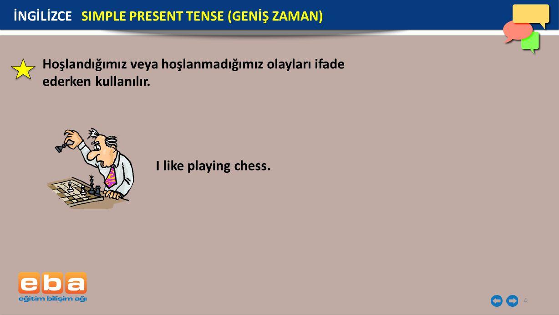 4 I like playing chess. İNGİLİZCE SIMPLE PRESENT TENSE (GENİŞ ZAMAN) Hoşlandığımız veya hoşlanmadığımız olayları ifade ederken kullanılır.