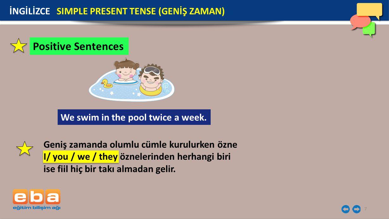 8 İNGİLİZCE SIMPLE PRESENT TENSE (GENİŞ ZAMAN) Positive Sentences: She rides a horse every weekend.