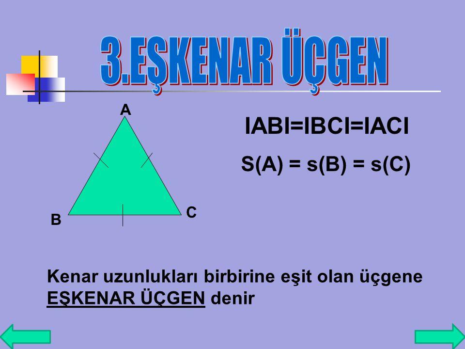 A BC I ABI=IACI İki kenarın uzunluğu eşit ola üçgene İKİZKENAR ÜÇGEN denir. s(B)=s(C)