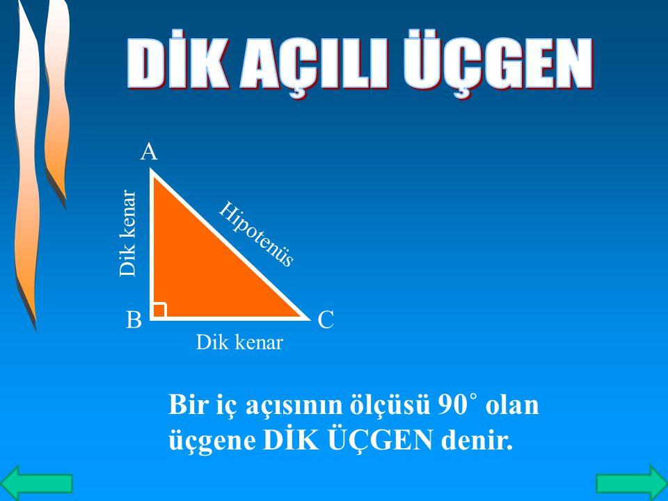 # DAR AÇILI ÜÇGEN s(Â)<90۫۫˚ A B C s(B)<90۫۫˚ s(C)<90۫۫˚ Üç açısının ölçüsü de 90 den küçük olan açılara,DAR AÇILI ÜÇGEN denir.